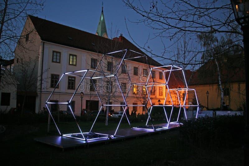 Festival delle luci a Zagabria, Croazia, Europa, details2 fotografie stock libere da diritti