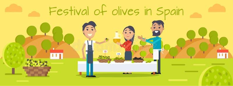Festival delle olive nel concetto piano di vettore della Spagna royalty illustrazione gratis