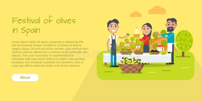 Festival delle olive nell'insegna di web della Spagna Stile piano royalty illustrazione gratis