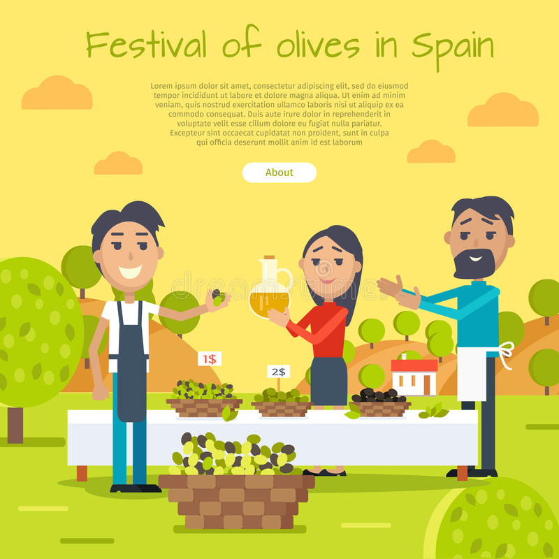 Festival delle olive nell'insegna di web della Spagna Stile piano illustrazione di stock