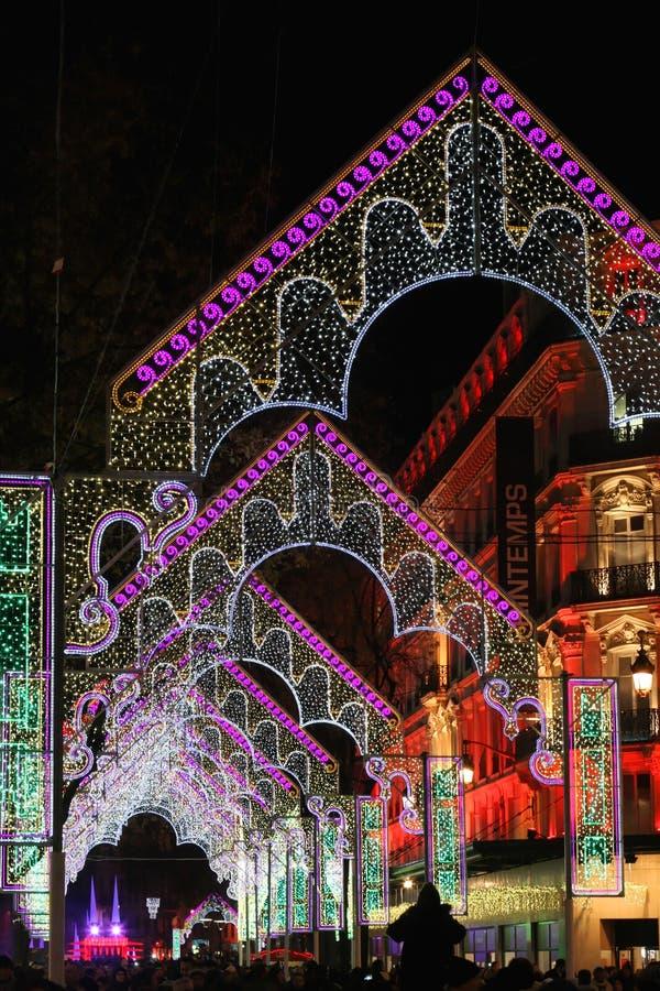 Festival der Leuchten in Lyon-Straßen lizenzfreies stockbild