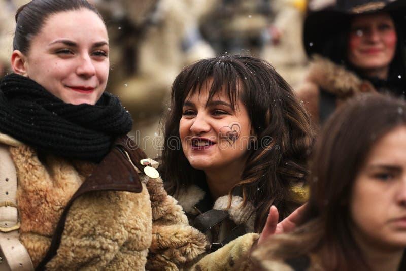 Festival der Maskerade-Spiele Surova in Breznik, Bulgarien stockfoto