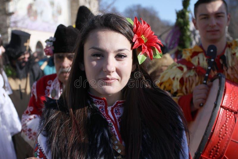 Festival der Maskerade-Spiele Surova in Pernik, Bulgarien stockfotografie