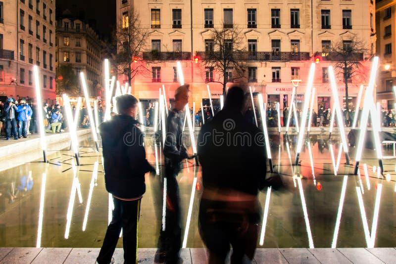 Festival des lumières à Lyon image libre de droits