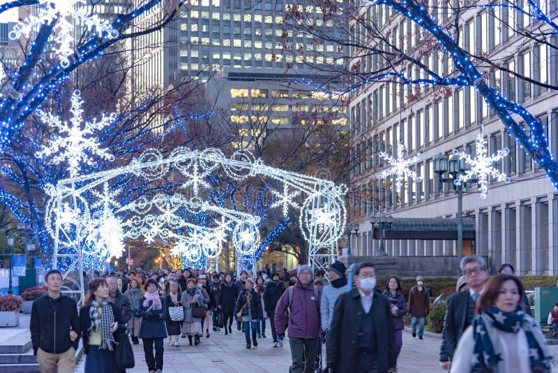 Festival des lumi?res ? Osaka Les événements d'illumination d'hiver, l'illumination de Midosuji et la Hikari Renaissance images libres de droits