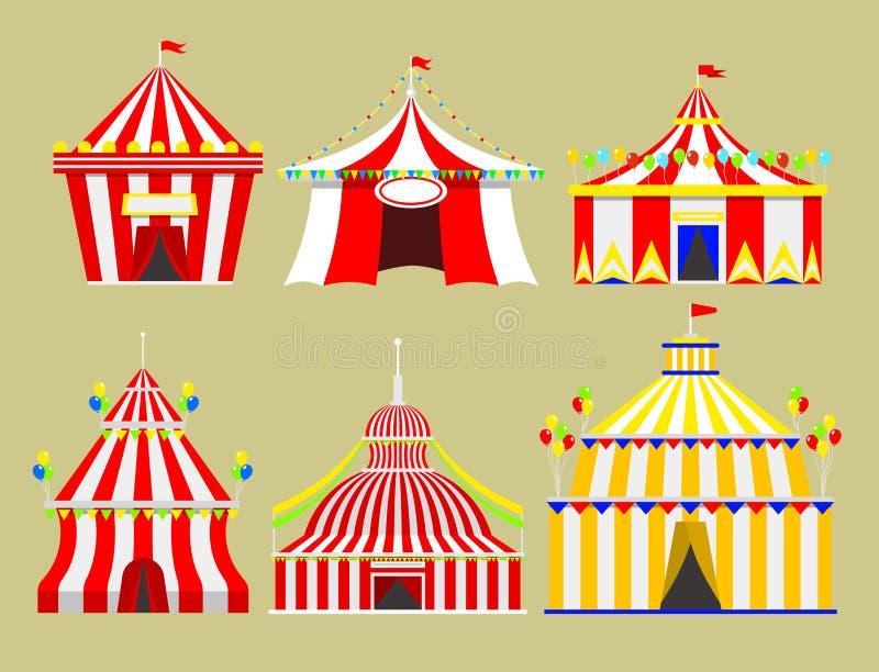 Festival des Zirkusshowunterhaltungszelt-Festzelts im Freien mit Streifen und Flaggen lokalisierte Karnevalszeichen vektor abbildung
