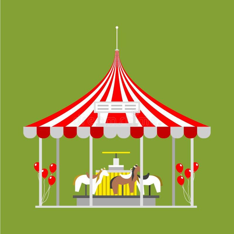 Festival des Zirkusshowunterhaltungszelt-Festzelts im Freien mit Streifen und Flaggen lokalisierte Karnevalszeichen stock abbildung