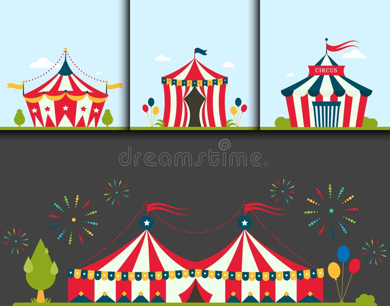 Festival des Zirkusshowunterhaltungszeltfestzelt-Festzelts im Freien mit Streifen kennzeichnet flayer Broschüren-Karnevalskarte vektor abbildung