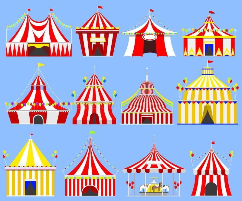 Festival des Zirkusshowunterhaltungszeltfestzelt-Festzelts im Freien mit Streifen und Flaggen lokalisierte Karnevalszeichen vektor abbildung