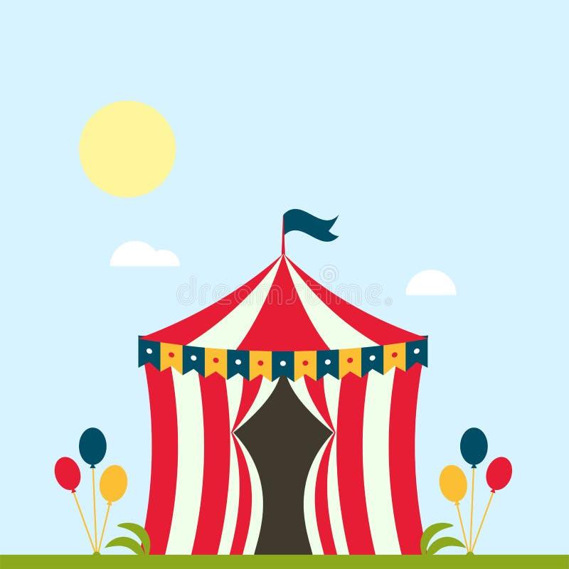 Festival des Zirkusshowunterhaltungszeltfestzelt-Festzelts im Freien mit Streifen und Flaggen lokalisierte Karnevalszeichen lizenzfreie abbildung