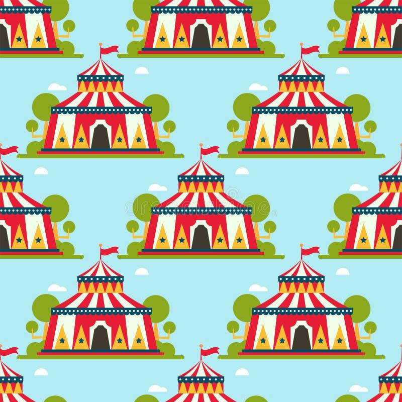 Festival des Zirkusshowunterhaltungszeltfestzelt-Festzelts im Freien mit Streifen und nahtlosem Muster des Flaggenkarnevals lizenzfreie abbildung