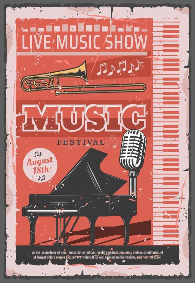 Festival di concerto di musica, retro vettore illustrazione di stock
