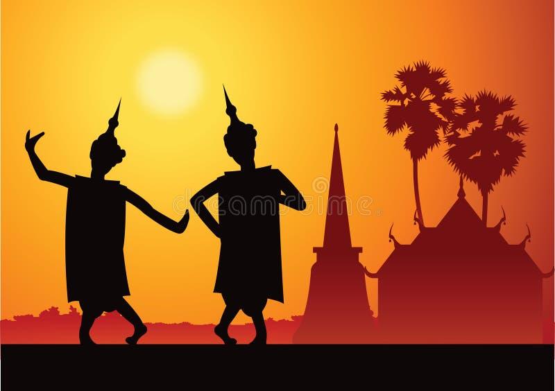 Festival di For del ballerino tailandese di musica e cerimonia importanti, siluetta illustrazione vettoriale