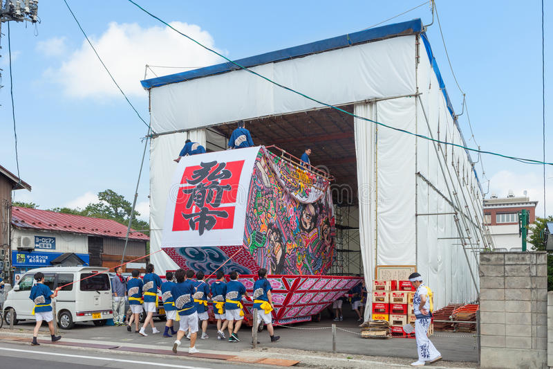 Festival di Hirosaki Neputa (galleggiante a forma di ventaglio) nel Giappone fotografia stock libera da diritti