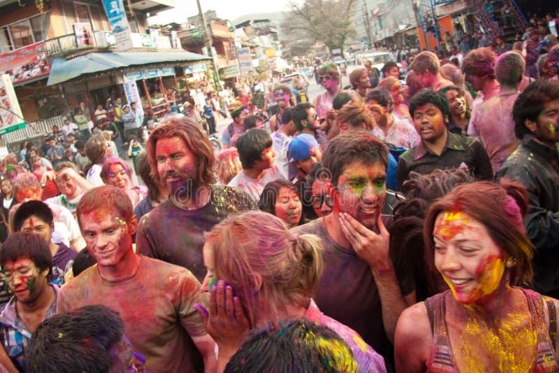 Festival di Holi (festival dei colori) nel Nepal immagini stock