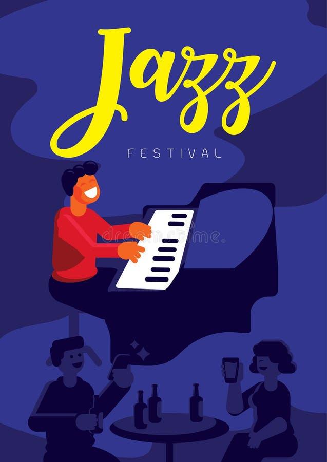 Festival di jazz con il pianista nel pub di jazz royalty illustrazione gratis