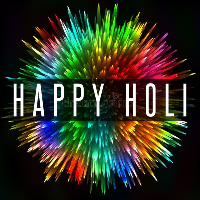 Festival di molla indiano felice di Holi, fondo variopinto del manifesto di saluto della spruzzata illustrazione di stock