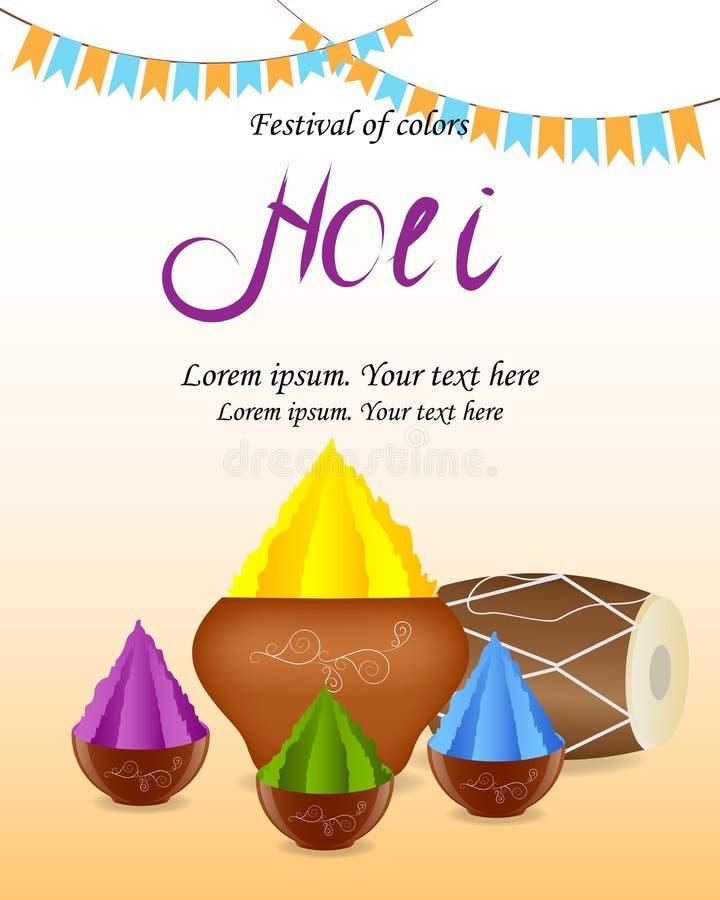Festival di molla indiano di Holi dei colori Wi arancio bianchi del fondo illustrazione di stock