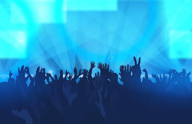 Festival di musica con la gente di dancing e le luci d'ardore creativo royalty illustrazione gratis