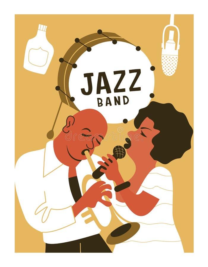 Festival di musica del manifesto, retro partito nello stile degli anni 70, gli anni 80 Jazz Party Il musicista di afro gioca la t royalty illustrazione gratis