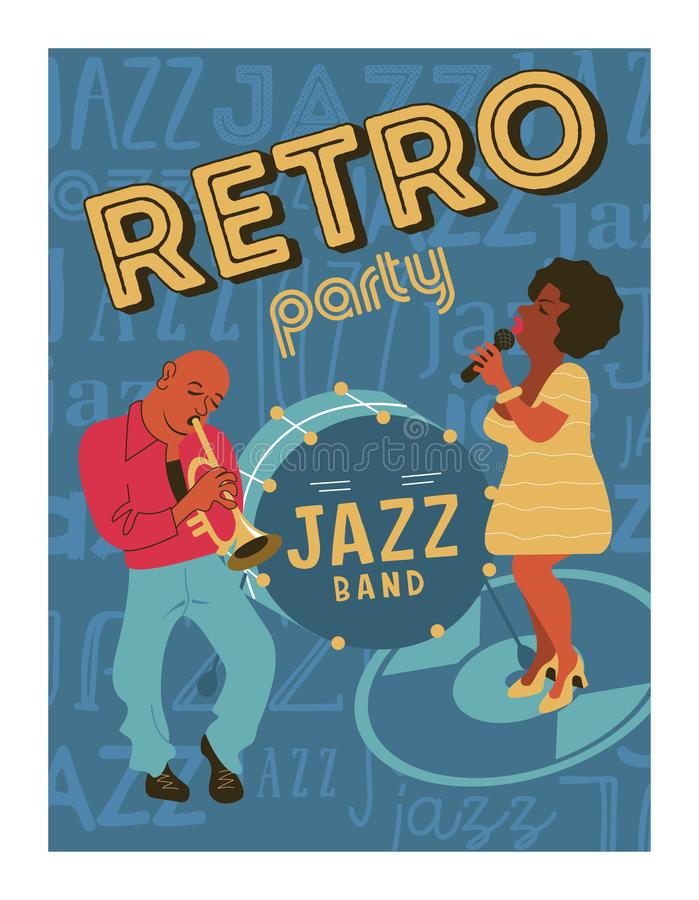 Festival di musica del manifesto, retro partito nello stile degli anni 70, gli anni 80 Jazz Party Il musicista di afro gioca la t illustrazione di stock
