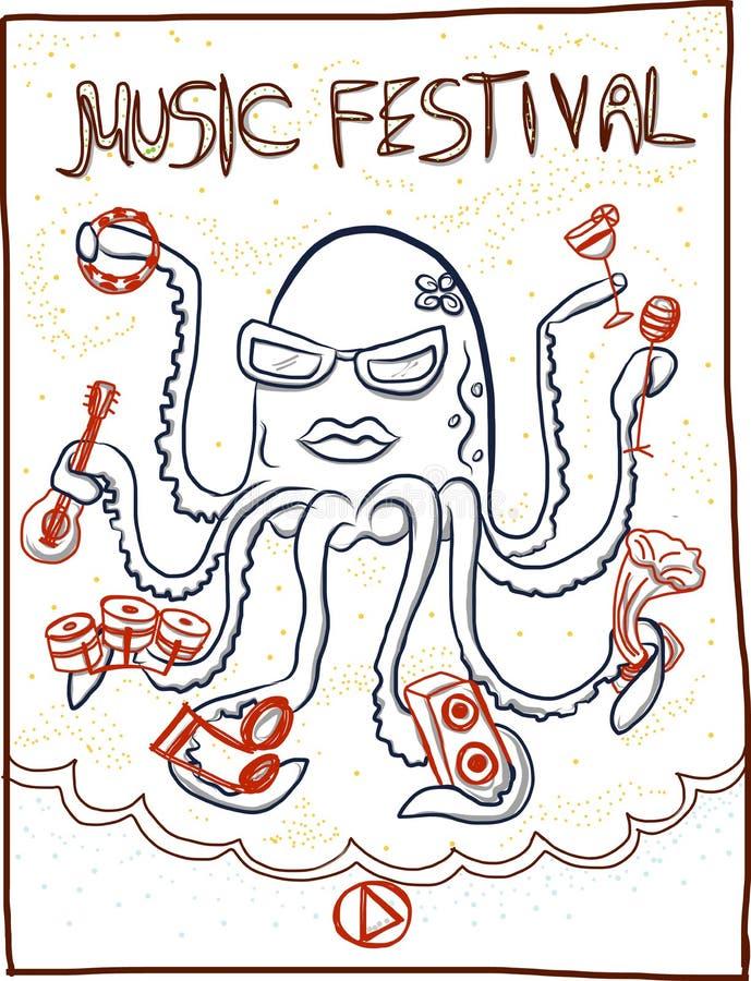 Festival di musica disegnato a mano, fumetto del polipo royalty illustrazione gratis