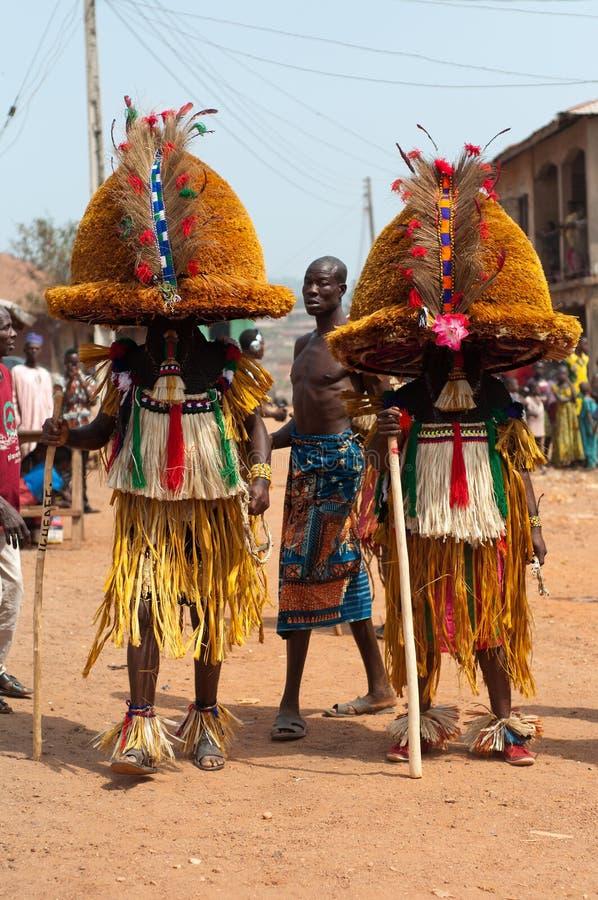 Festival di Otuo Ukpesose - il Itu si maschera in Nigeria immagine stock libera da diritti