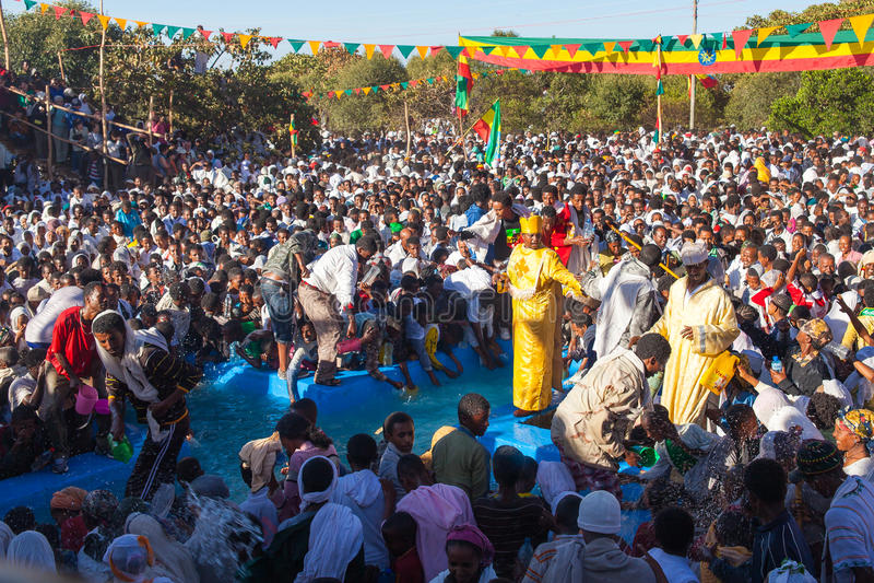 Festival di Timkat a Lalibela in Etiopia fotografie stock libere da diritti