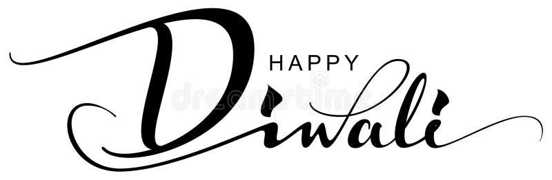 Festival do feriado do cartão feliz do texto de Diwali de luzes indiano ilustração do vetor
