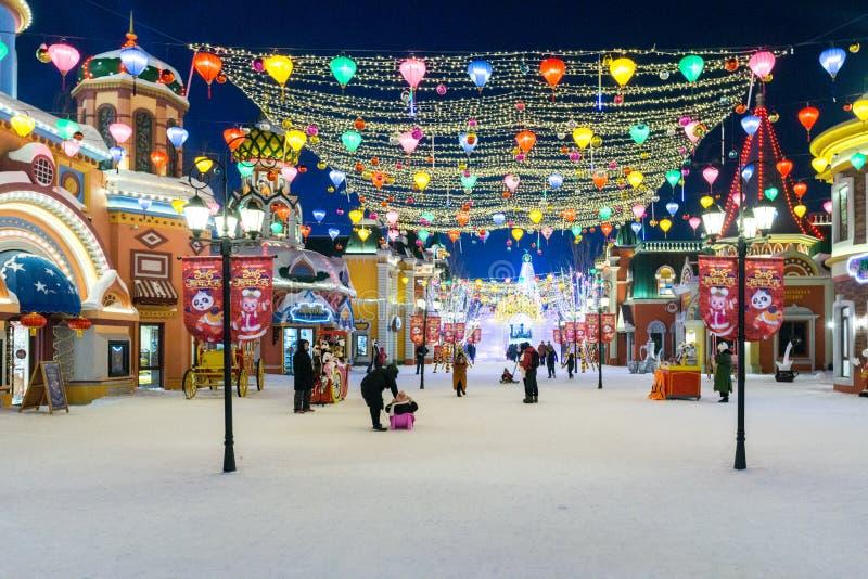 Festival 2018 do gelo de Harbin - cidade de Wanda imagens de stock