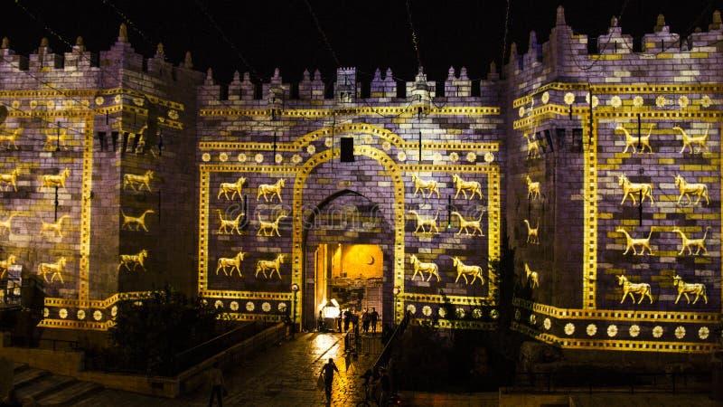 Festival do Jerusalém de luz - porta de Damasco imagem de stock