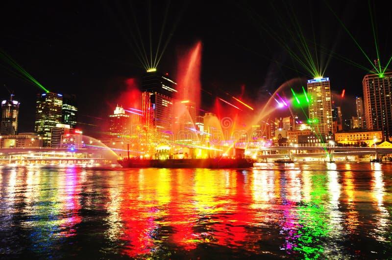 Festival do rio da cidade de Southbank Brisbane das luzes, Austrália fotos de stock royalty free