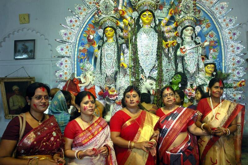 Festival dos Ídolos-Durga da argila de India foto de stock