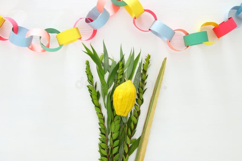 Festival ebreo del sukkot Simboli tradizionali & x28; Quattro lo species& x29;: Etrog, lulav, hadas, arava fotografie stock libere da diritti