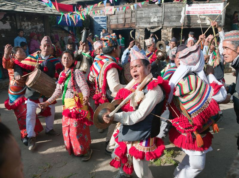Festival ethnique traditionnel au Népal photo stock