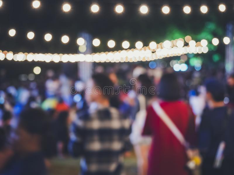 Festival Event outdoor Party Hipster People Blur lighting Background. Music festival royalty free stock photography
