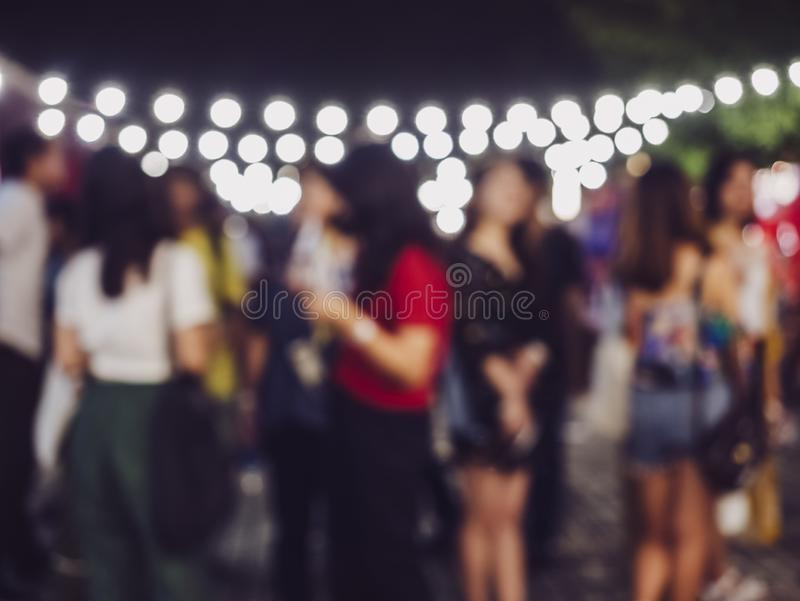 Festival Event outdoor Party Asian People lighting decoration Blur Background. Festival Event outdoor nightlife Party Asian People lighting decoration Blur stock photography
