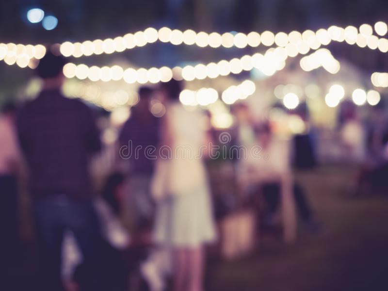 Festival Event Party outdoor with Blurred People Background. Festival Event Party outdoor with People Blurred Background Vintage tone stock photography