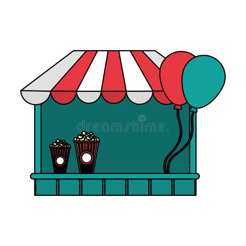 Festival för färgkarnevallager med popcorn och ballonger vektor illustrationer