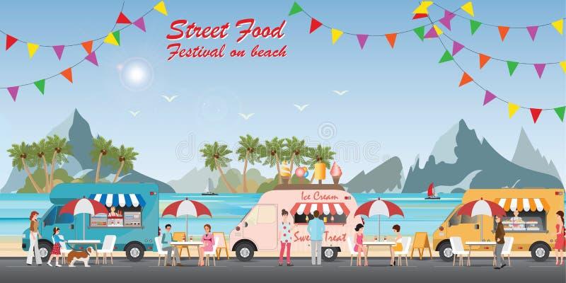 Festival för gatamatlastbil på stranden vektor illustrationer