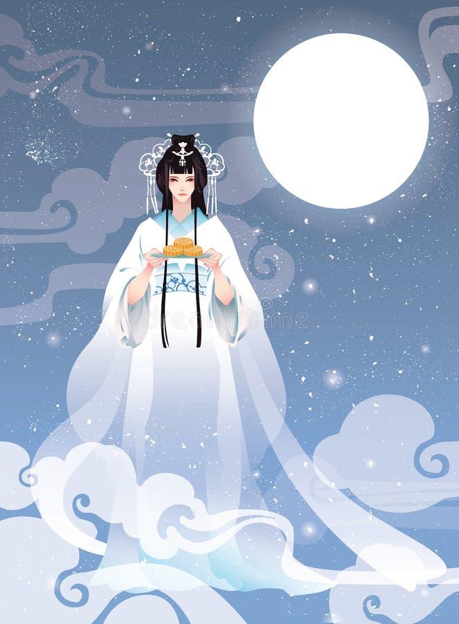 Festival för höst för vektorillustration mitt- med Chang'e, den kinesiska gudinnan av månen stock illustrationer