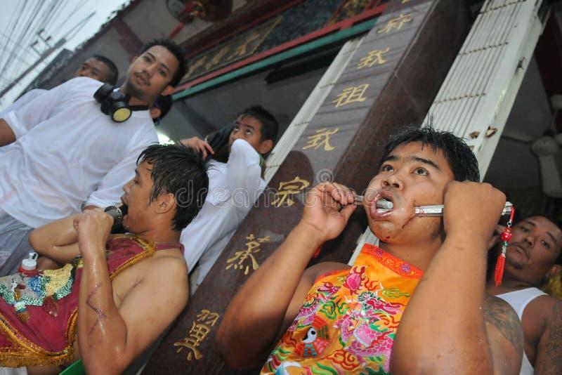 Festival för nio kejsaregudar i Phuket Thailand royaltyfri foto
