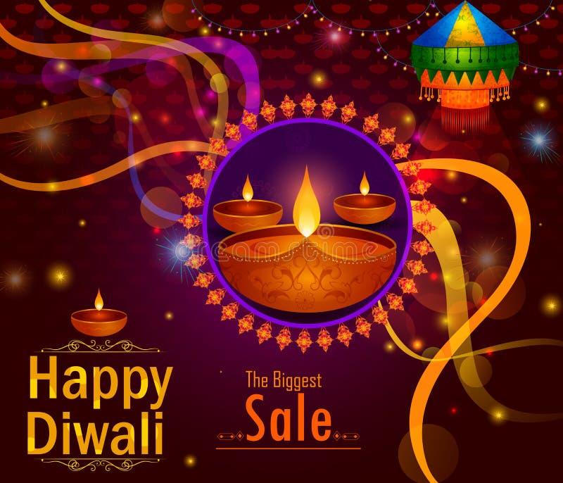 Festival felice della luce di Diwali del fondo dell'insegna di vendita della pubblicità di saluto dell'India royalty illustrazione gratis