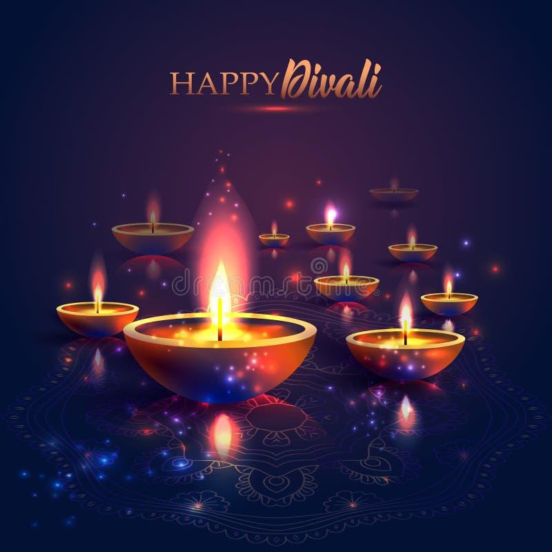 Festival feliz de Diwali de luces Lámpara de aceite retra en el cielo nocturno del fondo, ejemplo en formato del vector libre illustration