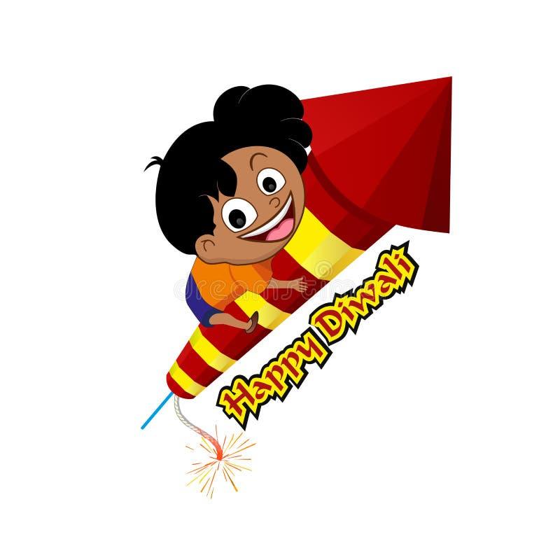 Festival feliz do diwali Biscoito do fogo de Diwali com menino ilustração do vetor