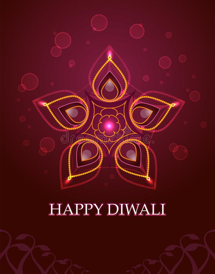 Festival feliz la India de Diwali en un vector rosado rojo del fondo de la flor libre illustration