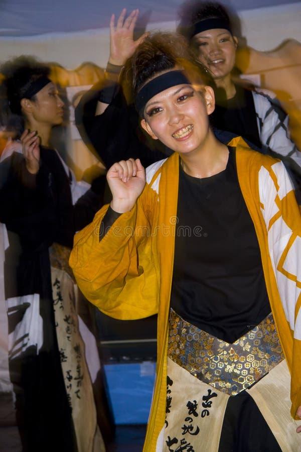 Festival femenino japonés de los bailarines imagen de archivo