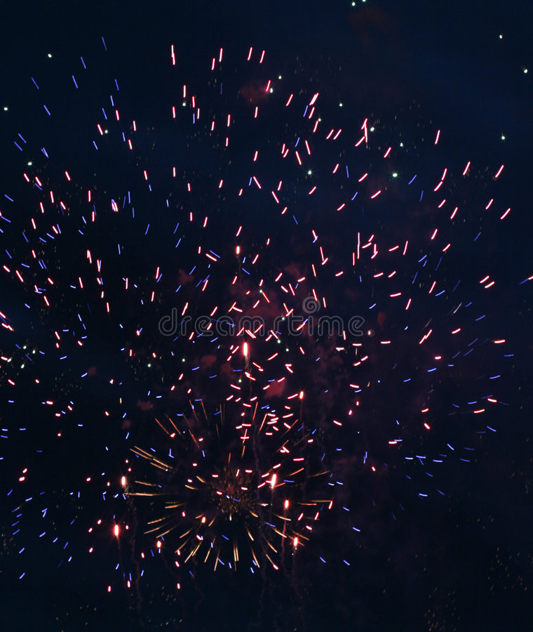 Festival firework. Much flashes to form miscellaneous and colour in the night royalty free stock image