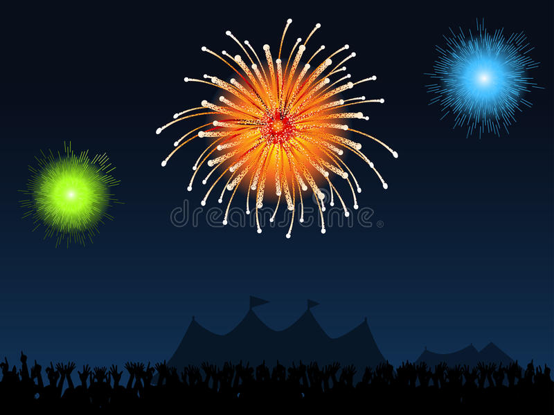 Festival fireworks. Crowd partying in front of festival tents with fireworks exploding in the sky vector illustration