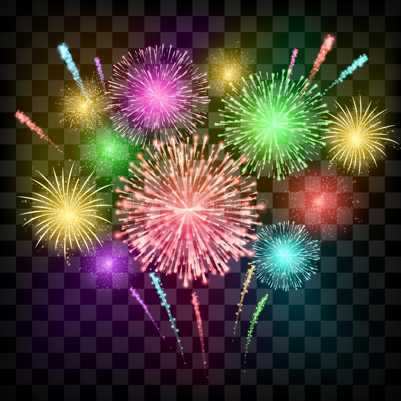 Free Festival Fireworks. Banner For Diwali Or Christmas An Ather Holiday And Event. Vector Illustration Isolated On Transparent Stock Photos - 139061493
